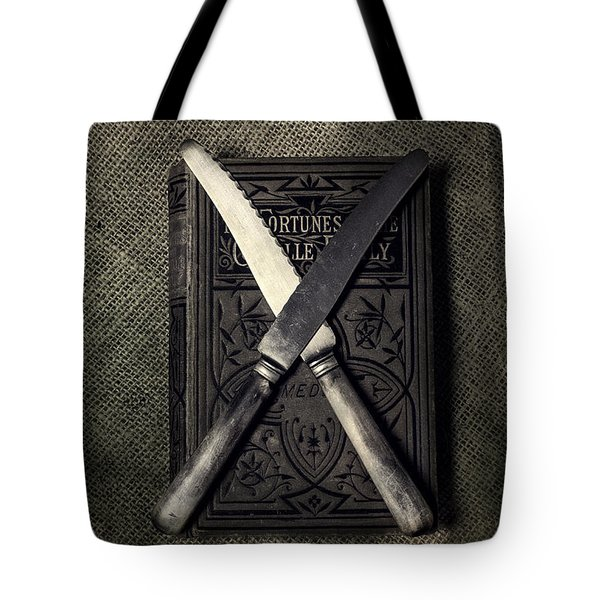 Two Knives And A Book Tote Bag by Joana Kruse