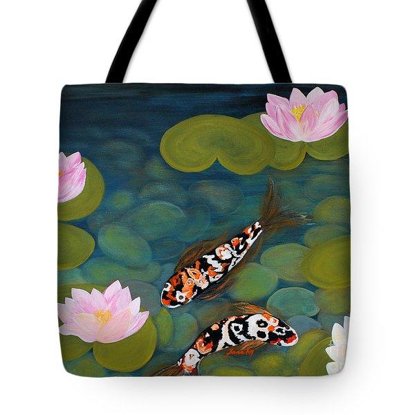 Two Koi Fish And Lotus Flowers Tote Bag
