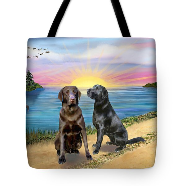 Two Labs At The Lake Tote Bag by Jean B Fitzgerald