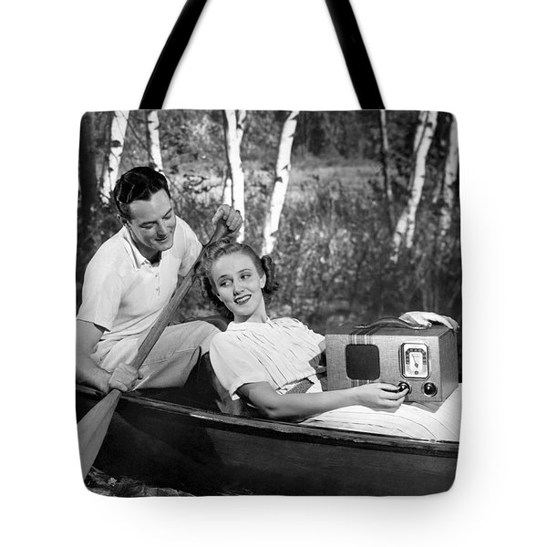 Two Lovers In A Canoe Tote Bag