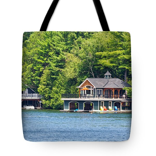 Two Luxury Boathouses Tote Bag