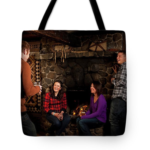 Two Men And Two Women Drinking Beer Tote Bag