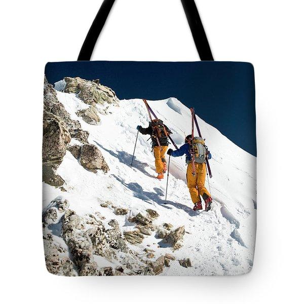 Two Men Backcountry Skiing Hike Tote Bag