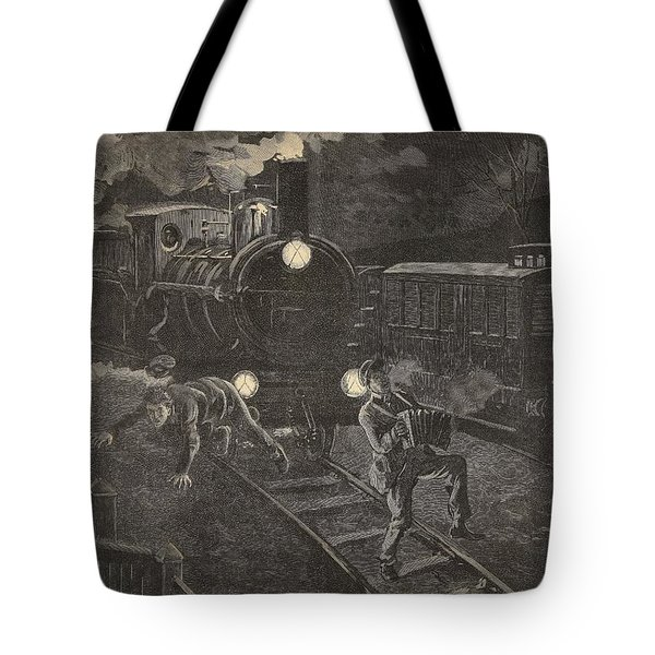 Two Men Hit By A Train Illustration Tote Bag