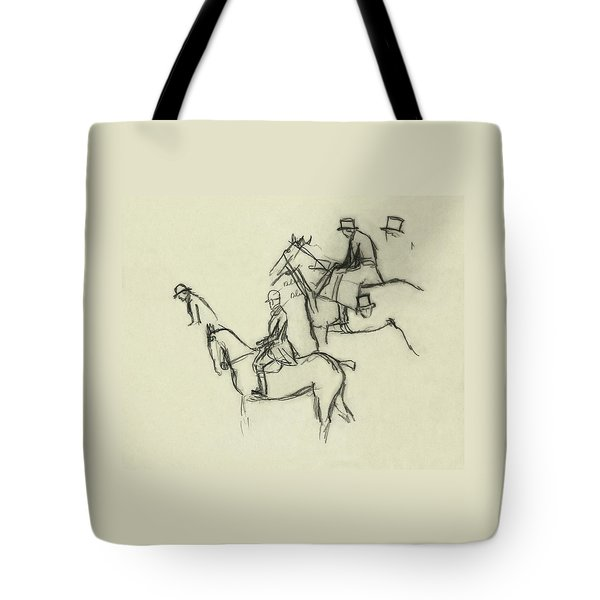 Two Men Horse Riding Tote Bag