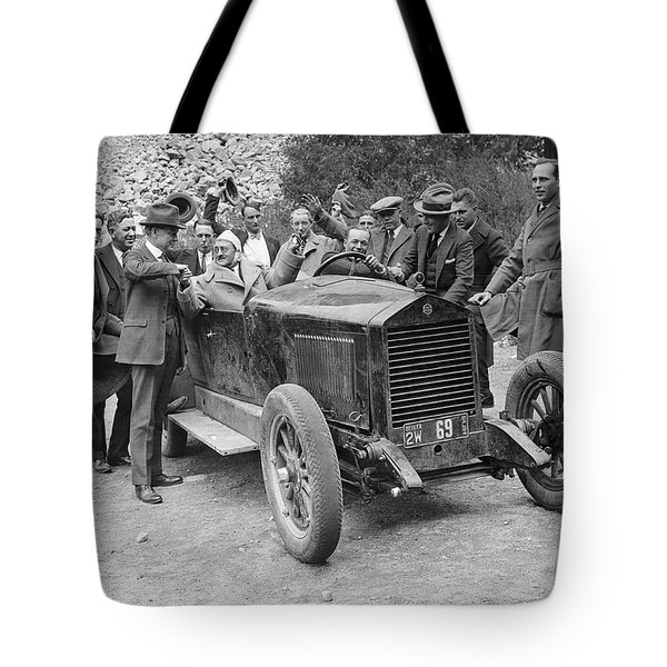 Two Men In An Essex Race Car Tote Bag