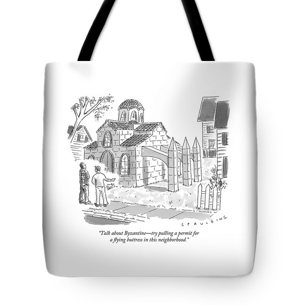 Two Men Look At A House That Is Built Tote Bag