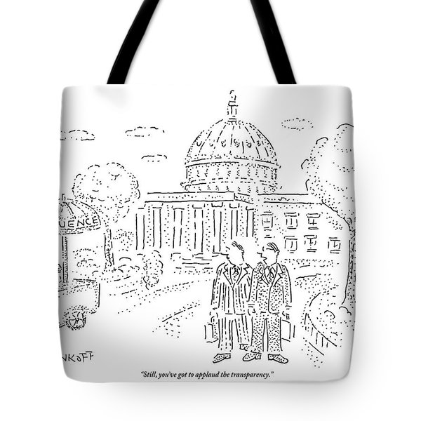 Two Men Speak In Front Of The Capitol And Look Tote Bag