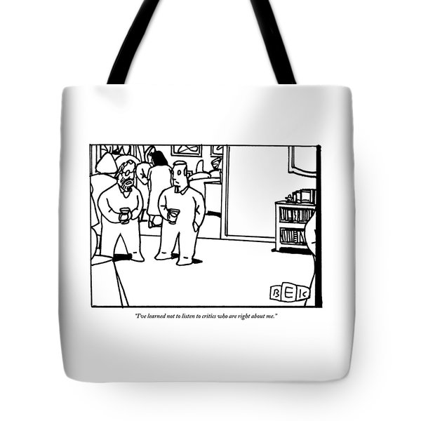 Two Men Speaking On Left Side Of Frame. They're Tote Bag