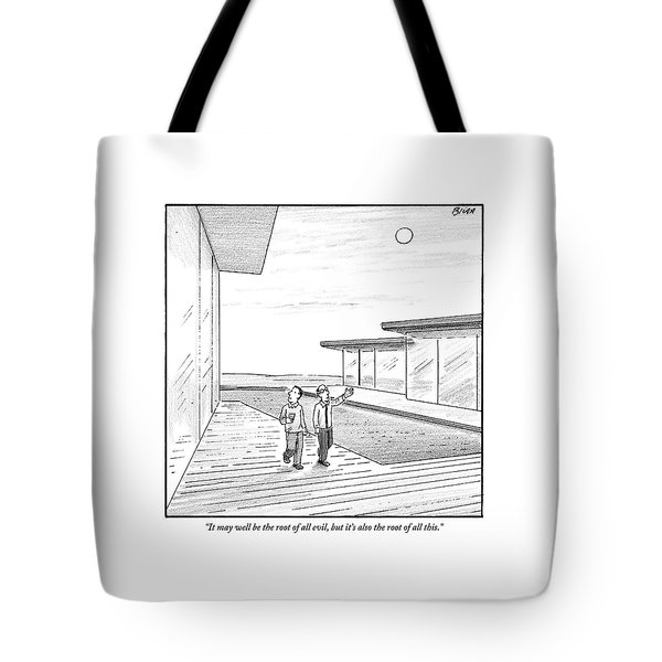 Two Men Touring The Outside Of A Big House Tote Bag