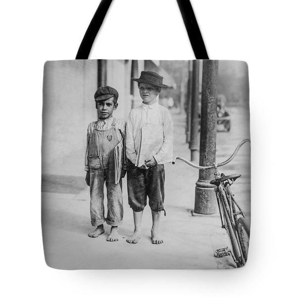 Two Newspaper Boys Tote Bag