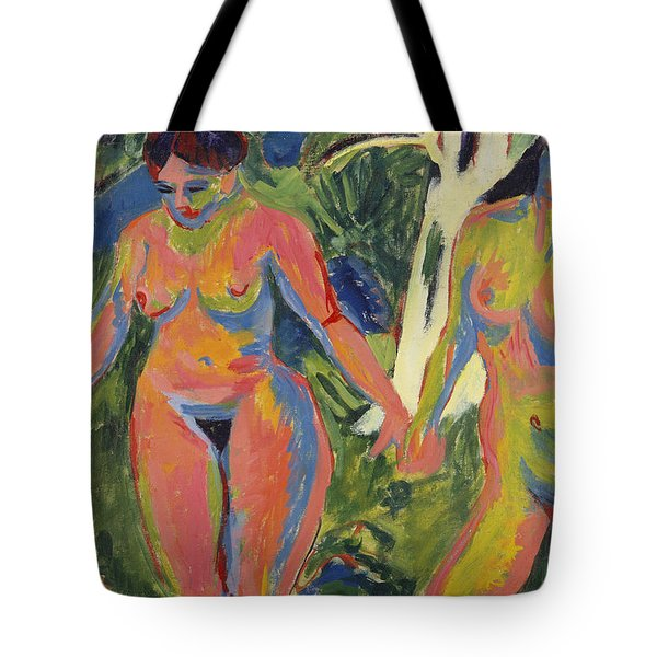 Two Nude Women In A Wood Tote Bag by Ernst Ludwig Kirchner