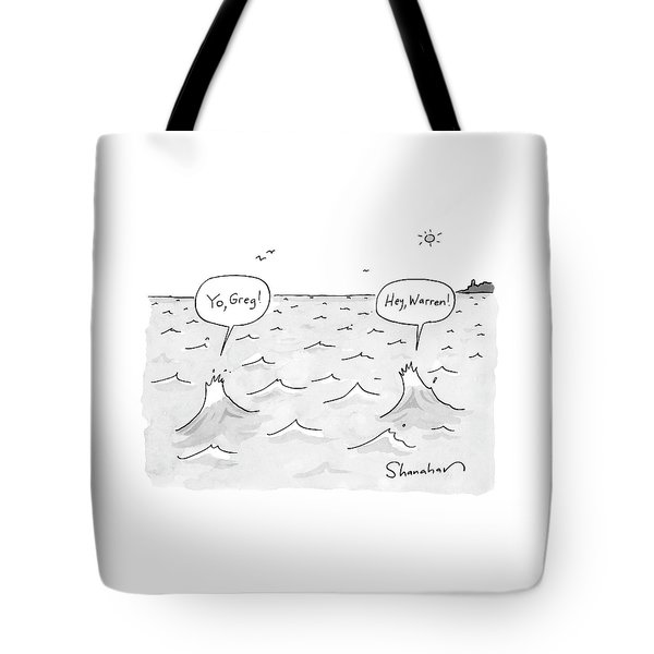 Two Ocean Waves Greet Each Other Tote Bag