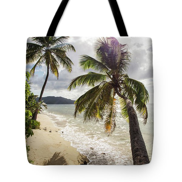 Two Palm Trees On The Beach With Sun Tote Bag