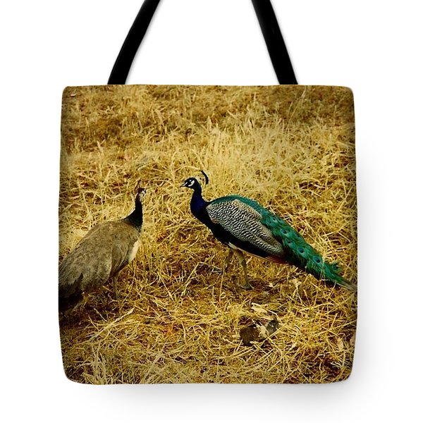 Two Peacocks Yaking Tote Bag