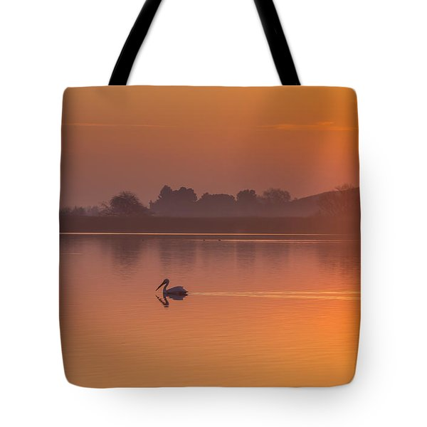 Two Pelicans At Sunrise Tote Bag