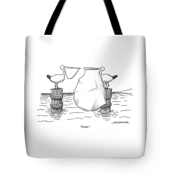Two Pelicans Converse As The Other's Beak Tote Bag