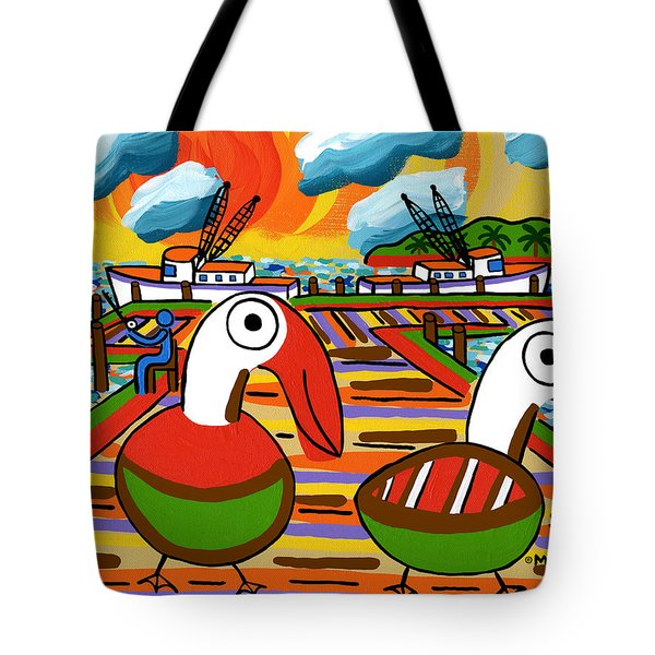 Two Pelicans On The Pier-cedar Key Tote Bag