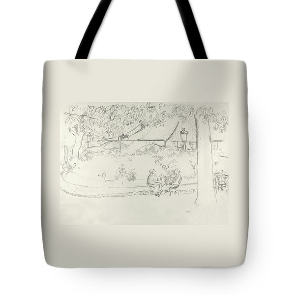 Two People At A Small Park Tote Bag