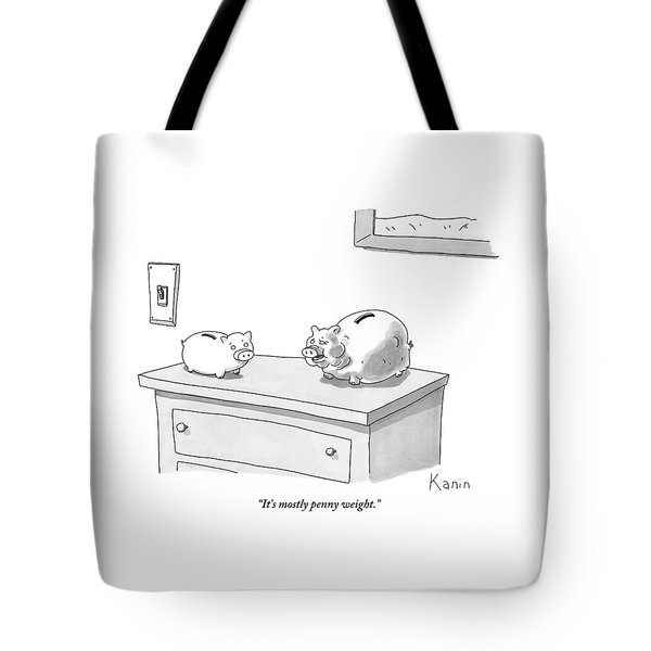 Two Piggy Banks Sit On A Dresser. One Is Heavy Tote Bag