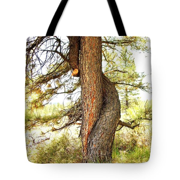 Two Pines Intertwined  Tote Bag