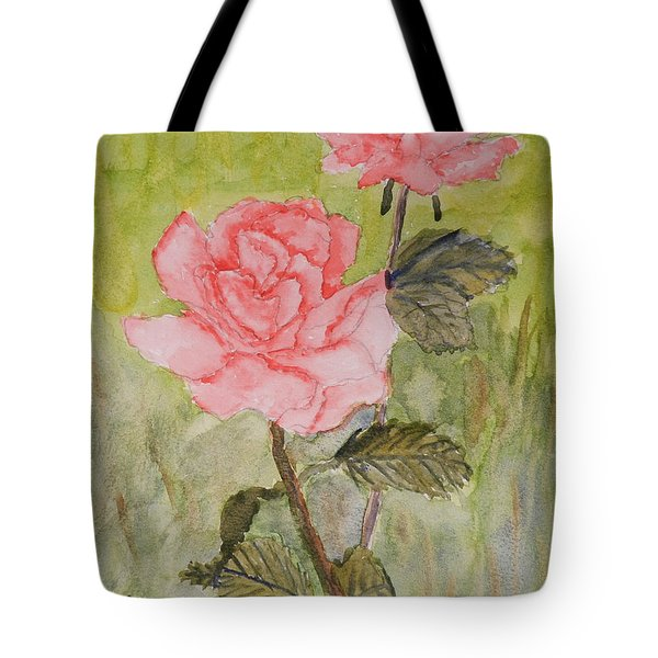 Two Pink Roses Tote Bag by Pamela  Meredith