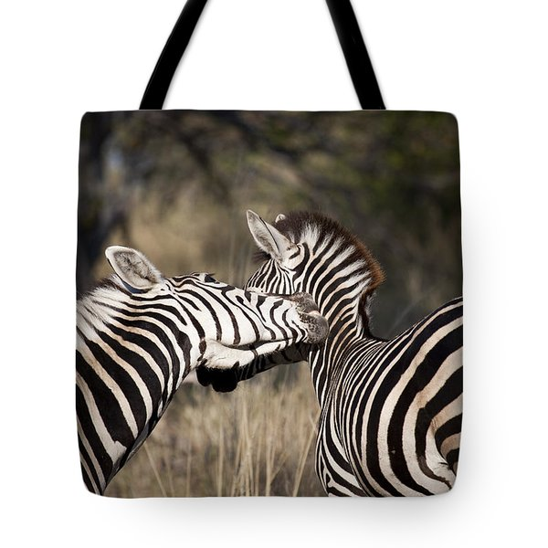 Tote Bag featuring the photograph Two Plains Zebra Botswana by Liz Leyden