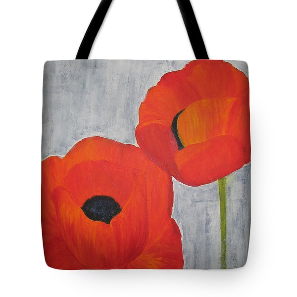 Two Poppies And Old Denim Tote Bag
