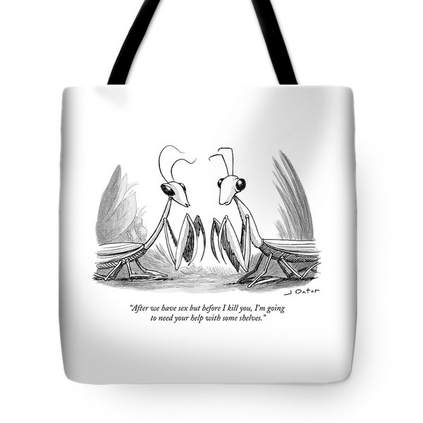 Two Praying Mantises Facing Each Other Tote Bag