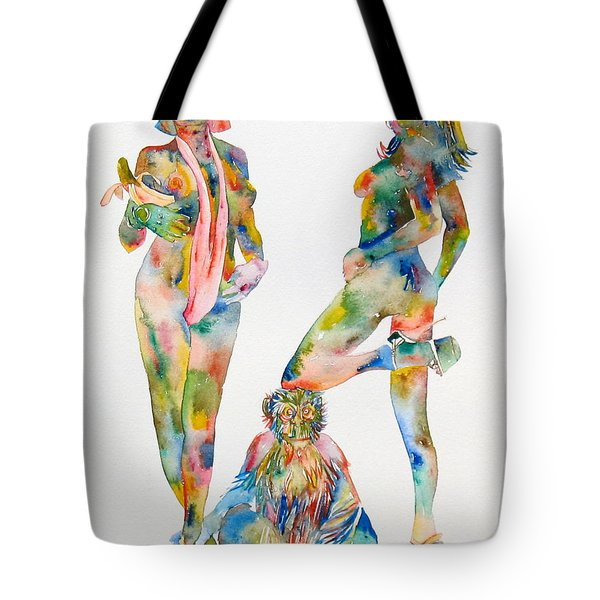Two Psychedelic Girls With Chimp And Banana Portrait Tote Bag by Fabrizio Cassetta