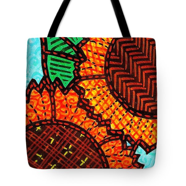 Two Quilted Sunflowers Tote Bag by Jim Harris