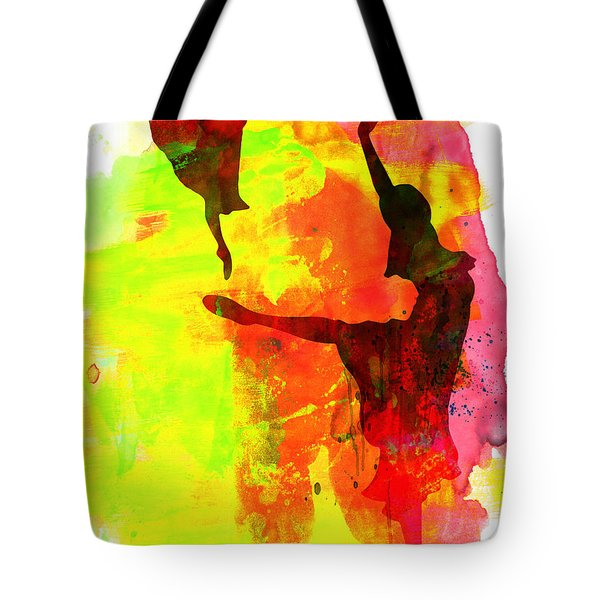 Two Red Ballerinas Watercolor  Tote Bag by Naxart Studio