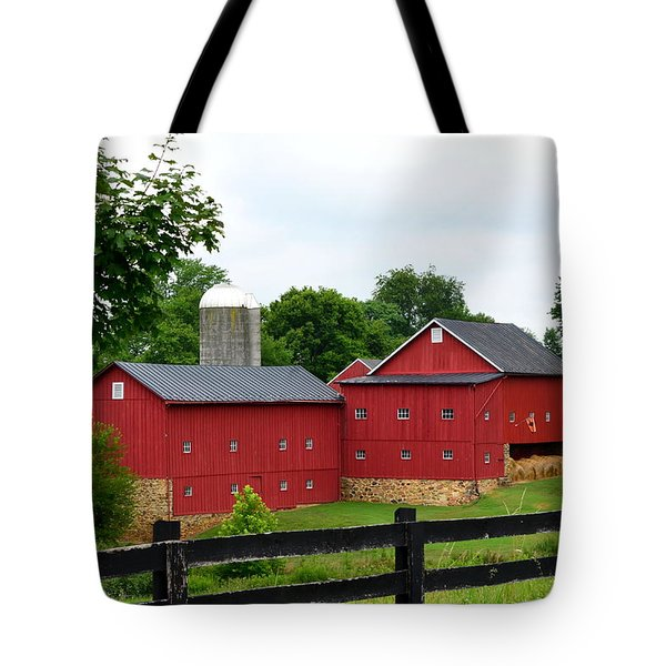 Tote Bag featuring the photograph Two Red Barns by Cathy Shiflett
