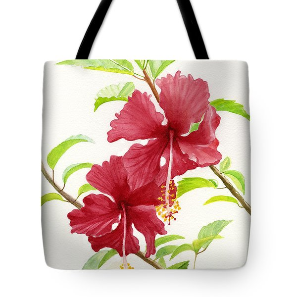 Two Red Hibiscus Flowers Tote Bag