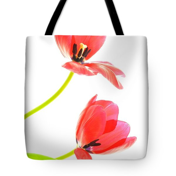 Two Red Transparent Flowers Tote Bag
