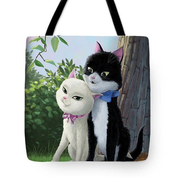 Two Romantic Cats In Love Tote Bag by Martin Davey