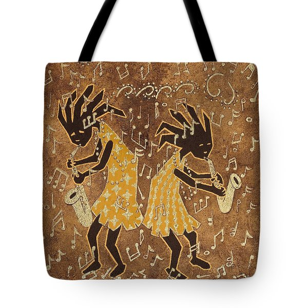 Two Sax Players Tote Bag by Katherine Young-Beck