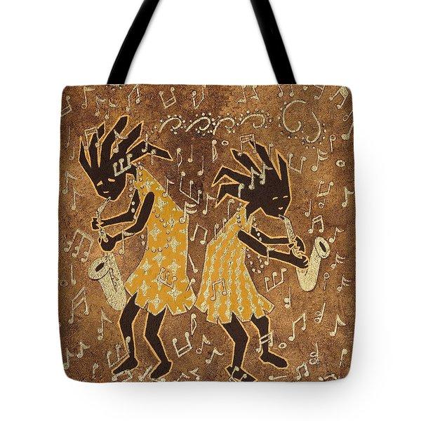 Two Sax Players Tote Bag