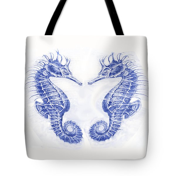 Two Seahorses- Blue Tote Bag by Jane Schnetlage
