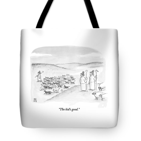 Two Shepherds With Conventional Sheep Look Tote Bag