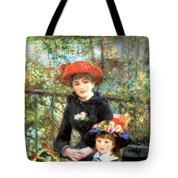 Two Sisters On The Terrace Tote Bag