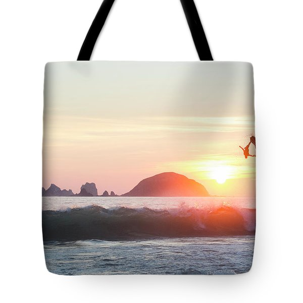 Two Stand Up Jet Skis Performing Aerial Tote Bag