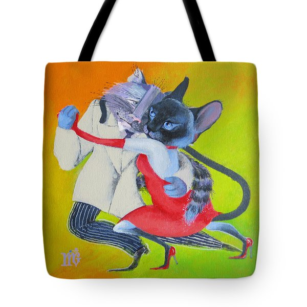 Two To Cats' Tango Tote Bag by Marina Gnetetsky