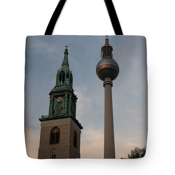 Two Towers In Berlin Tote Bag