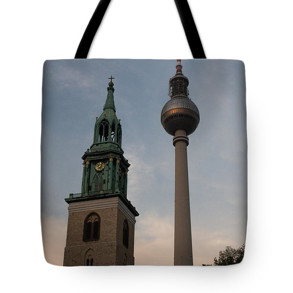 Two Towers In Berlin Tote Bag