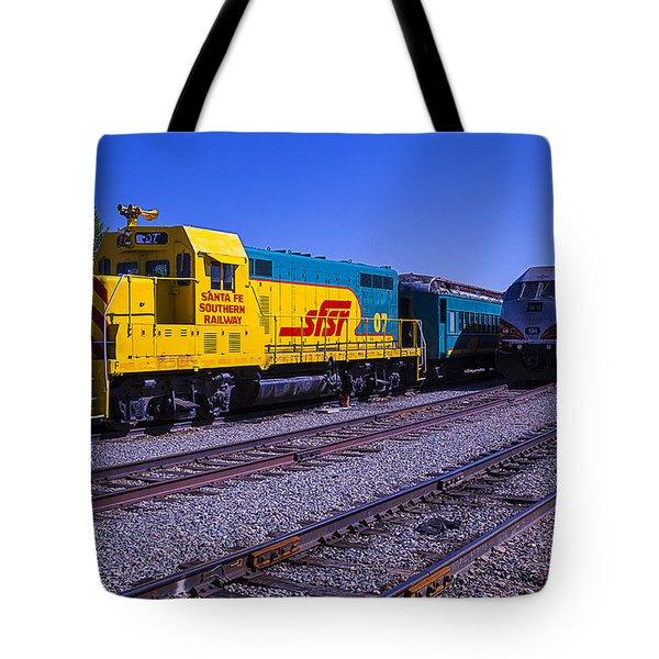 Two Trains Tote Bag