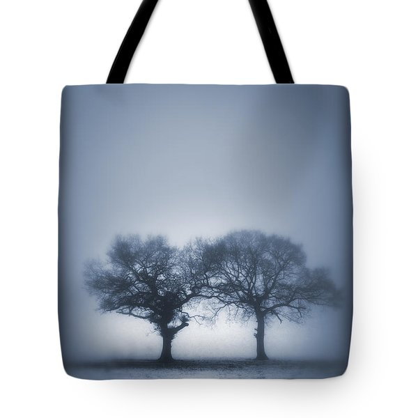 Two Trees In Blue Fog Tote Bag by Lee Avison