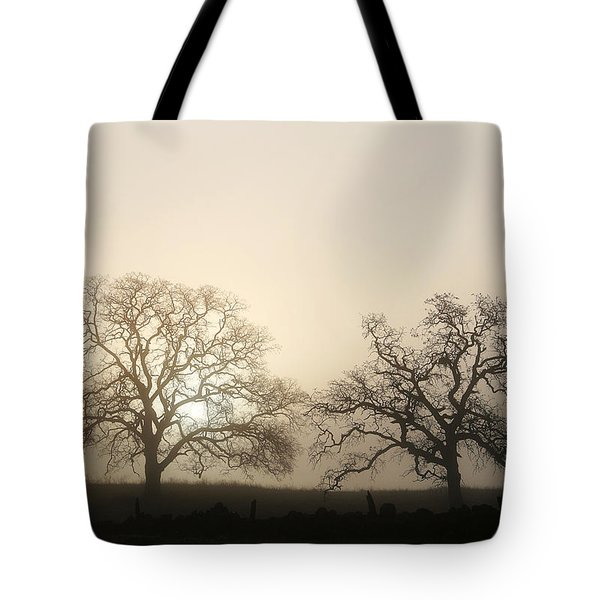 Two Trees In Fog Tote Bag