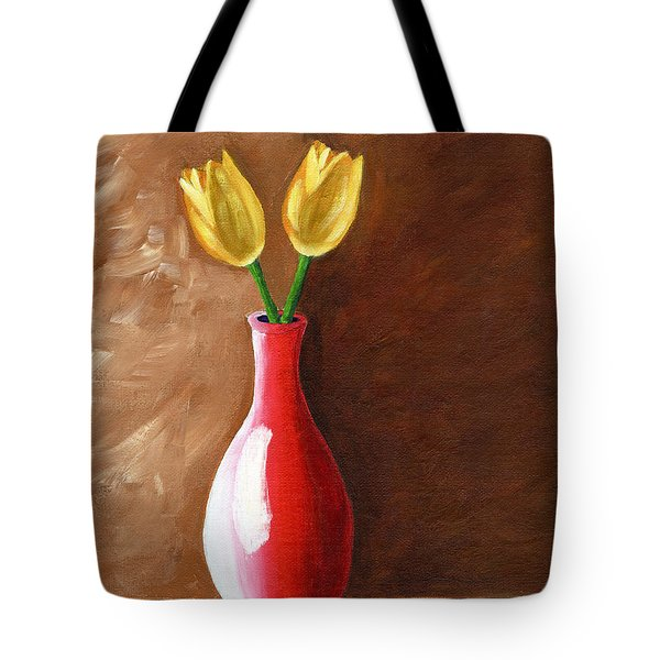 Tote Bag featuring the painting Two Tulips And A Pink Rose by Laura Forde