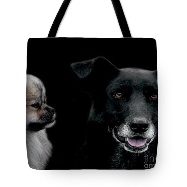 Two Types Of Mutts Tote Bag by Nola Lee Kelsey